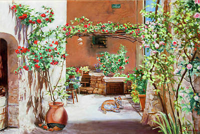 Climbing Roses In La Treille Courtyard Poster by Dominique Amendola