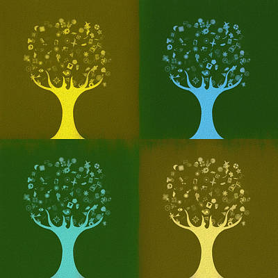 Poster featuring the mixed media Clip Art Trees by Dan Sproul