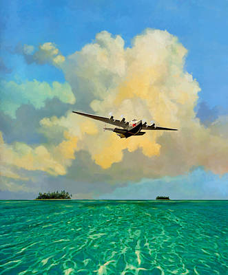 Clipper Over The Islands Poster by David  Van Hulst