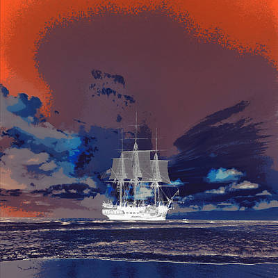 Clipper Ship Sunset Poster by Brandi Fitzgerald