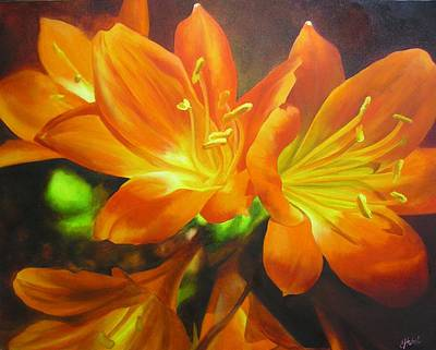 Poster featuring the painting Clivias by Chris Hobel