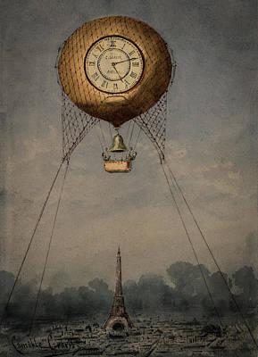 Clock Over Paris Poster