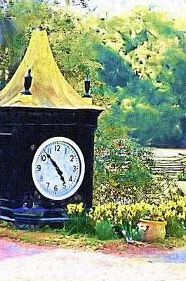 Poster featuring the photograph Clock Tower In The Garden by Donna Bentley