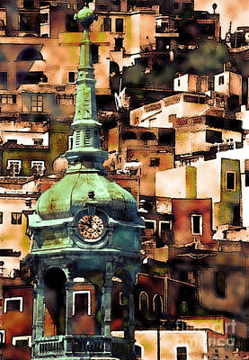 Clock Tower Of Guanajuato Poster by Linda  Parker