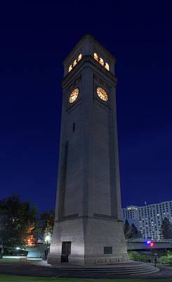 Clock Tower Spokane W A Poster by Steve Gadomski