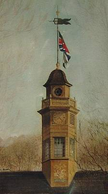 Clock Tower- Williamsburg Capital Poster by Charles Roy Smith