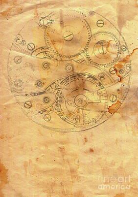 Clockwork Mechanism On Grunge Paper Poster