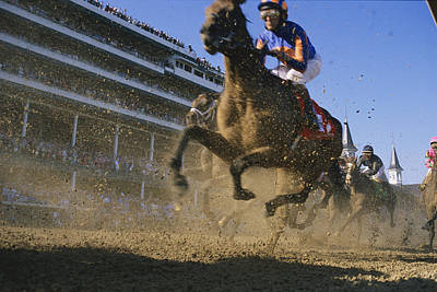 Close Action Shot Of Horses Racing Poster