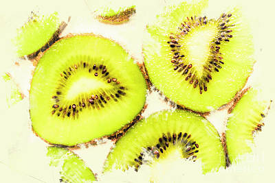 Close Up Of Kiwi Slices Poster