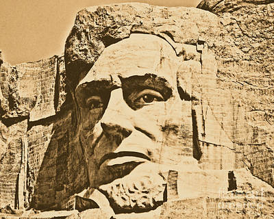 Close Up Of President Abraham Lincoln On Mount Rushmore South Dakota Rustic Digital Art Poster by Shawn O'Brien