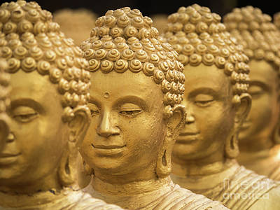 Poster featuring the photograph Close-up On Head Buddha Statue, Soft Focus. by Tosporn Preede