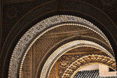 Close-up View Of Moorish Arches In The Alhambra Palace In Granad Poster