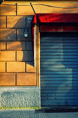 Closed Shop Door At Sunset Poster by Silvia Ganora