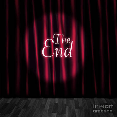 Closed Theatre Stage Curtains At Performance End Poster