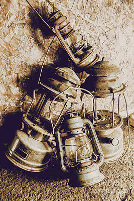 Closeup Of Antique Oil Lamps Poster