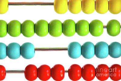 Closeup Of Bright  Abacus Beads On White Poster by Sandra Cunningham