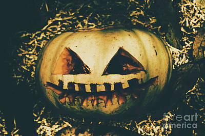 Closeup Of Halloween Pumpkin With Scary Face Poster