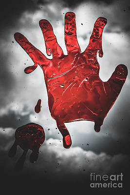 Closeup Of Scary Bloody Hand Print On Glass Poster