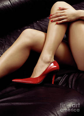 Closeup Of Sexy Bare Legs In Red High Heels Poster