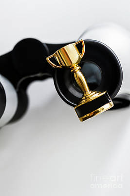 Closeup Of Small Trophy And Binoculars On White Background Poster by Jorgo Photography - Wall Art Gallery