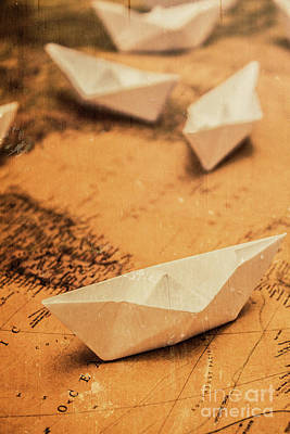 Closeup Toned Image Of Paper Boats On World Map Poster