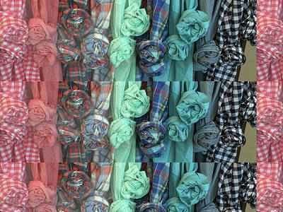 Poster featuring the digital art Cloth Craft Work Flower Patterns Made Of Tshirt Sleeves Fashion Couture Christmas Birthday Holidays  by Navin Joshi