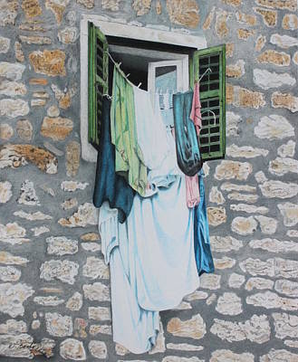 Clotheslines In Dobrovnik Poster by Wilfrid Barbier