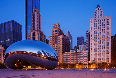 Cloud Gate -the Bean- In Millenium Park At Twilight Blue Hour - Chicago Illinois Poster by Silvio Ligutti