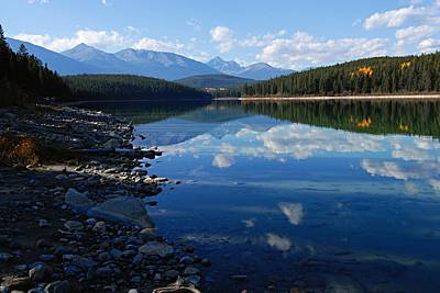 Cloud Reflections In Patricia Lake Poster by Larry Ricker