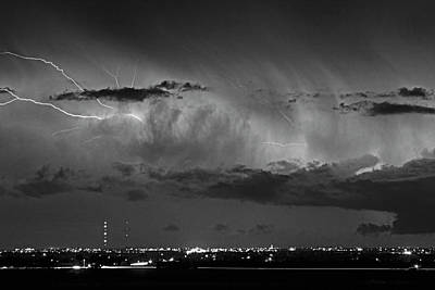 Cloud To Cloud Lightning Boulder County Colorado Bw Poster