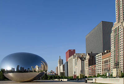 Cloudgate Reflects Michigan Avenue  Poster