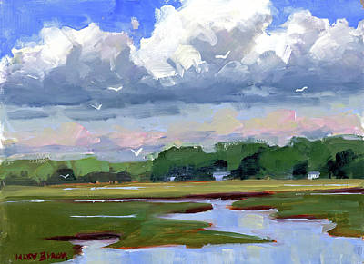 Clouds Above The Marsh Poster by Mary Byrom