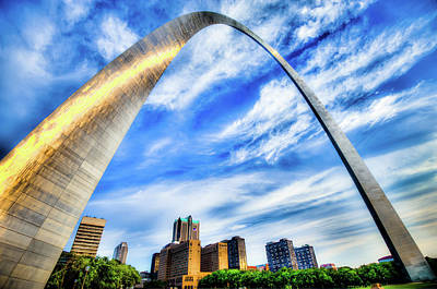 Clouds Moving Over The Saint Louis Skyline And Arch  Poster