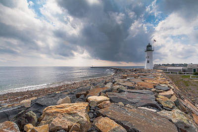 Clouds Over Old Scituate Light Poster