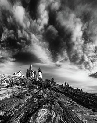 Clouds Over Pemaquid Lighthouse Poster