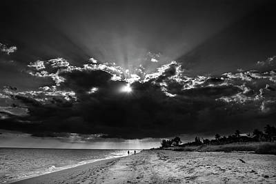 Clouds Over Sanibel Island Florida In Black And White Poster
