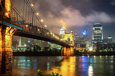 Clouds Over The Cincinnati Skyline - Night Cityscape Poster by Gregory Ballos
