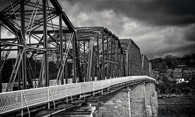 Poster featuring the photograph Clouds Over Walnut Street Bridge In Black And White by Greg Mimbs