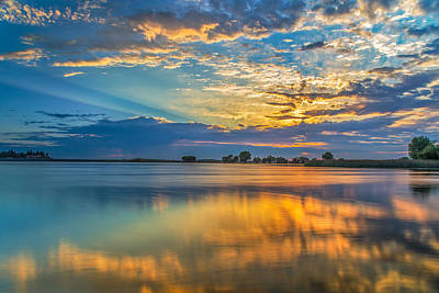 Clouds Reflected At Sunrise Poster by Marc Crumpler