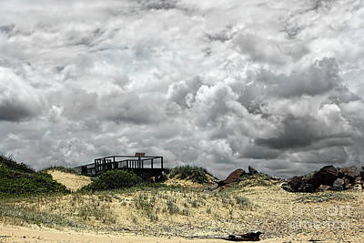 Poster featuring the photograph Cloudy Beach By Kaye Menner by Kaye Menner