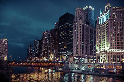Cloudy Night Chicago Poster