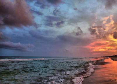 Cloudy Ocean Sunset Poster