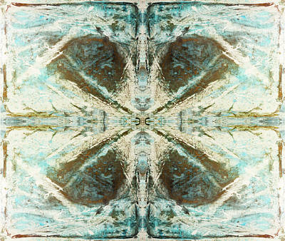 Clover Tile  4 In Copper Blue Poster by Peter V Quenter
