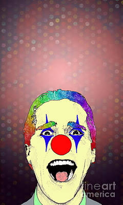 Poster featuring the drawing clown Christian Bale by Jason Tricktop Matthews