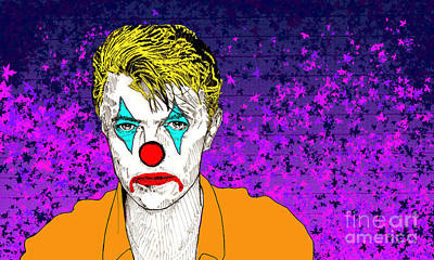 Poster featuring the drawing Clown David Bowie by Jason Tricktop Matthews
