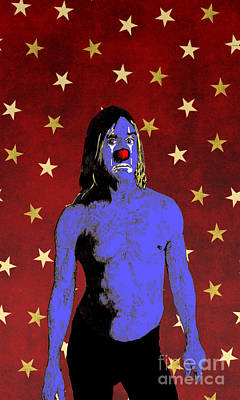 Poster featuring the drawing Clown Iggy Pop by Jason Tricktop Matthews