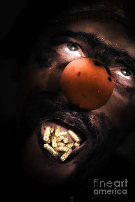 Clown With Capsules In Mouth Poster
