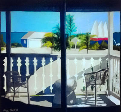 Club Med Turks And Caicos Balcony Poster by Nancy Wilt