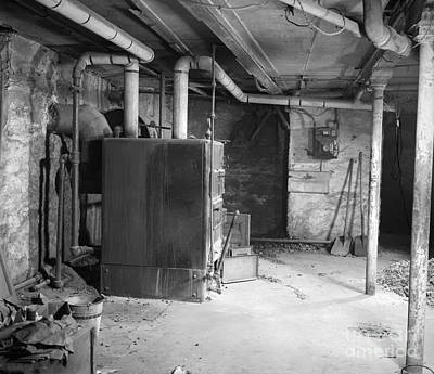 Coal Burning Furnace In Home Basement Poster