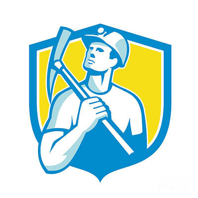 Coal Miner Holding Pick Axe Looking Up Shield Retro Poster
